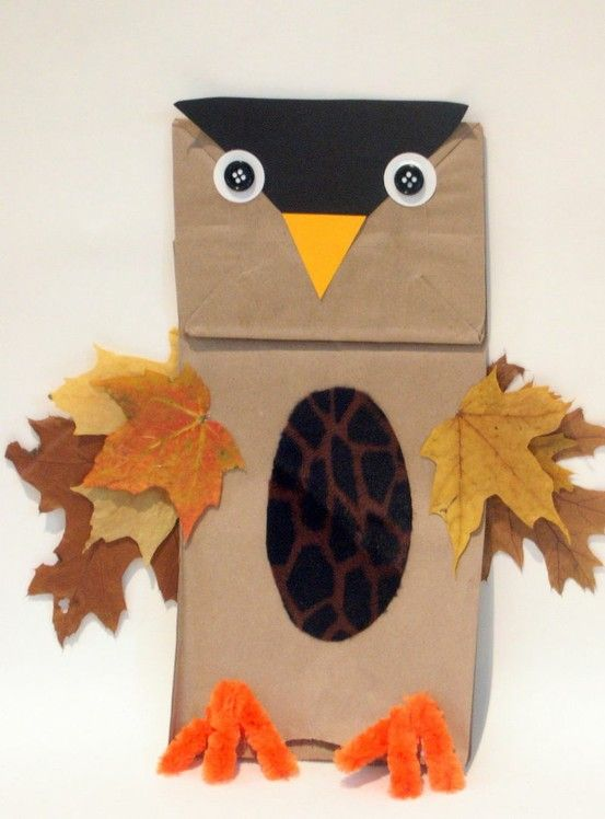 Fall unit  Materials needed:  - Brown paper bag  - Black, yellow, white, and brown construction paper  - Orange pipe cleaners  - Buttons or googley eyes  - Leaves (gathered from the nature walk)