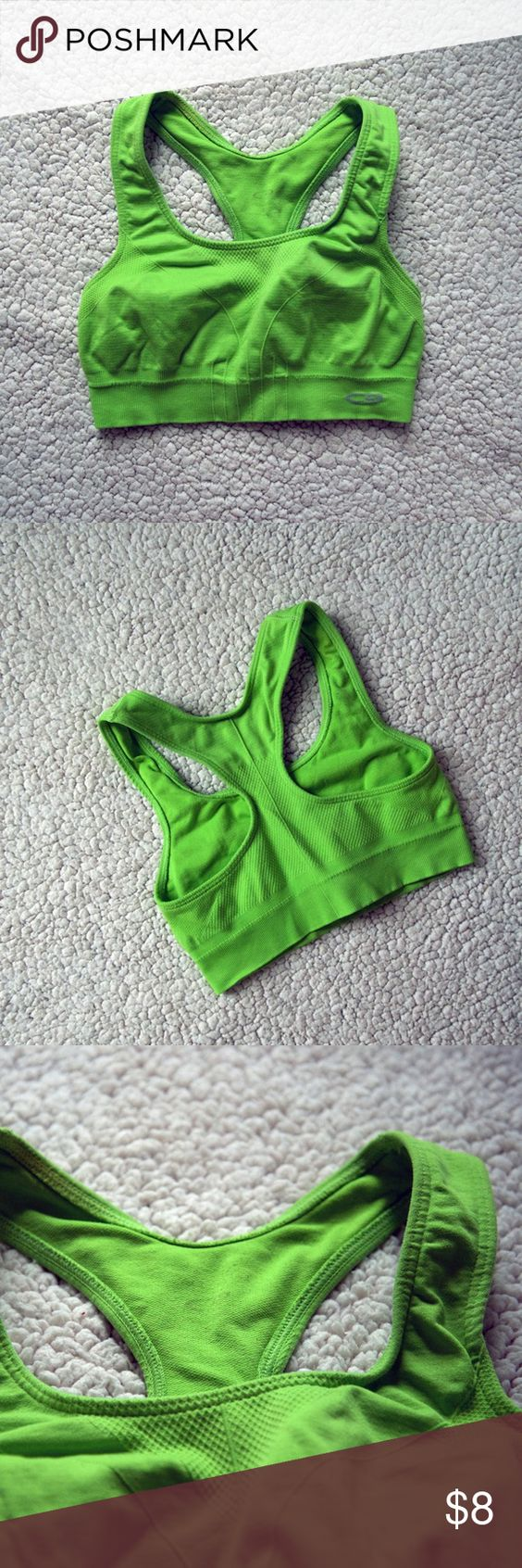 Green Champion Sports Bra Super comfy, stretchy green sports bra by Champion. Great condition, hardly worn, minor piling from washing on the inside on the back, where the label was printed. Size small. Would fit a 32A/B Champion Intimates & Sleepwear Bras