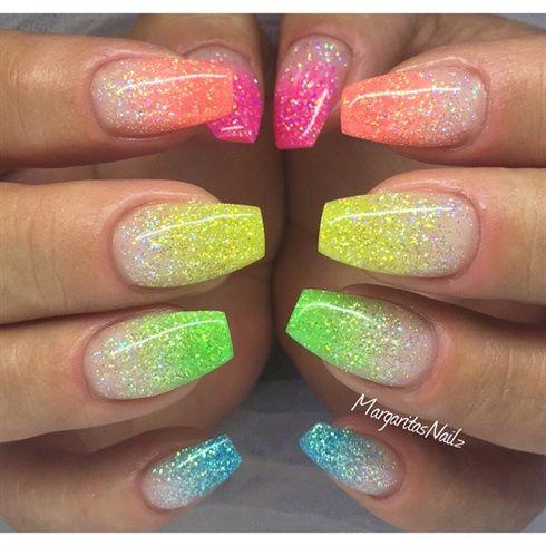 Colorful glitter Ombré Nails