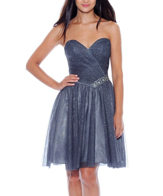 Charcoal Shimmer Tulle Strapless Dress - Women | Daily deals for moms, babies and kids