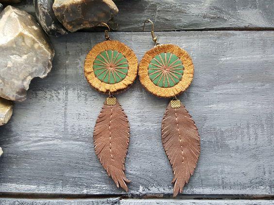 Leather feather earrings. Boho earrings. Bohemian by VelmaJewelry