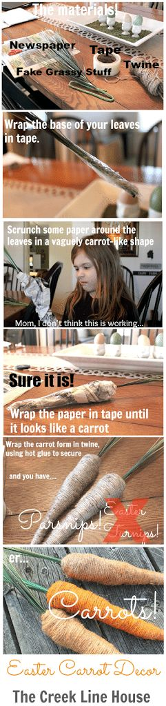 Easter Decor Carrots made from newspaper, tape, and twine!