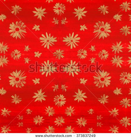 Seamless background pattern with abstract golden flowers on a hand drawn red acrylic texture - stock photo