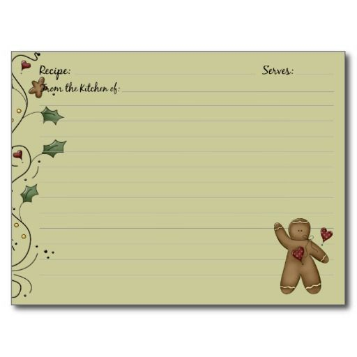 Gingerbread Recipe Cards Recipe cards, Gingerbread and Recipe binders - double recipe cards