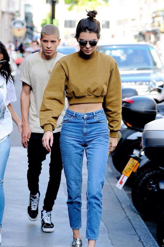 Kendall Jenner - mustard and high waisted jeans: