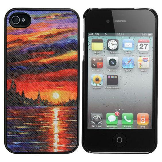 Amazing Sunset Glow Pattern Sticking Case Skin For iPhone 4