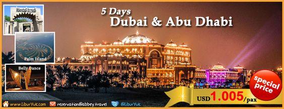 Yuk nikmati keindahan dan kemegahan dari Negara United Arab Emirates & Abu Dhabi. Selama 5 Hari Anda akan diajak berkeliling kota Dubai dan Abu Dhabi mengunjungi Burj Al Arab, Masjid Agung Sheikh Zayed, Palm Islands serta merasakan sensasi safari padang gurun dengan menggunakan Jeep 4WD. Yuk booking paketnya sekarang jg di  http://liburyuk.com/promotional-package/book/81605110/5D-DUBAI-&-ABUDHABI   #Dubai #AbuDhabi #LiburYuk #Jalan2 #AbbeyTravel