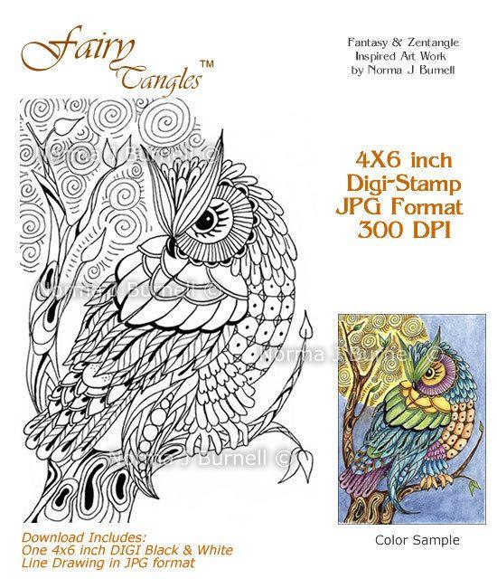 Moon Owl Fairy Tangles Printable Digi Stamp Zentangle Owl DIGI Stamps for…
