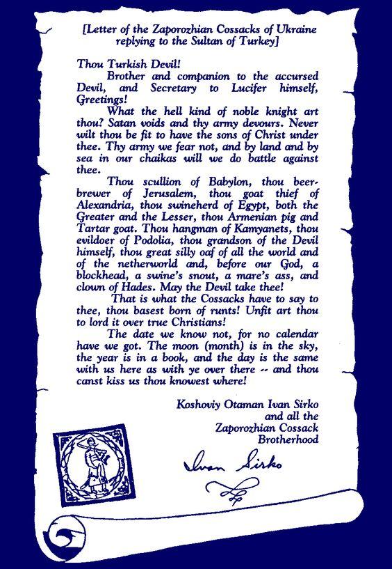 "InfoUkes: Ukrainian History -- The Cossack Letter: ""The Most Defiant Letter!"""