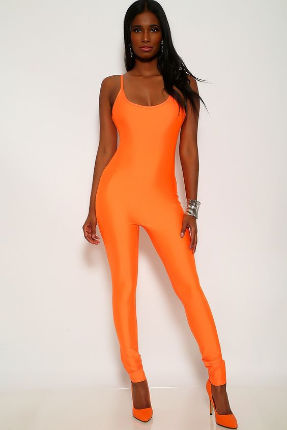 Orange Sleeveless Bodycon Jumpsuit