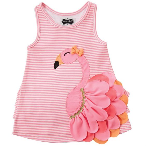 Striped interlock dress features layered nylon spandex flamingo applique with bow and ruffle at lower back.