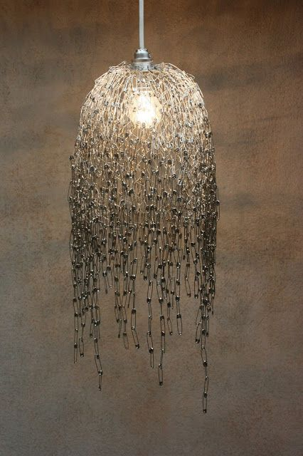 DIY SAFETY PIN LIGHT  Materials: Safety Pins (1300 pieces) chicken wire wire bulb fitting cable plug bulb pliers pincers