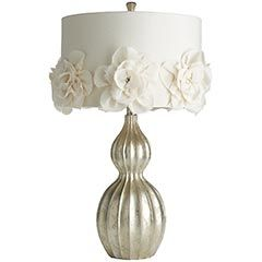 Pier One, Rosette Hayworth Lamp ~ LOVE IT!!! I'm going to make it though and save $100.  It really just looks like a bunch of material petals wrinkled up, stacked together and pinned with a rhinestone.  I can do that and you can too!  Be sure to check out the coordinating lamps.