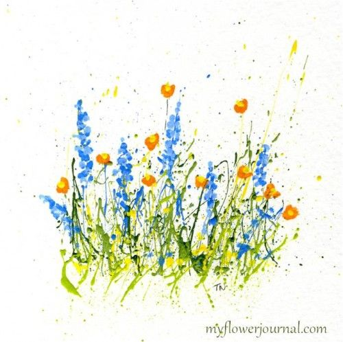 How to Paint Splattered PaintFlowers- Poppies and Delphiniums-myflowerjournal.com