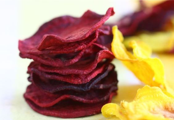 baked beet chips, so in season right now, i made these and was blown away!