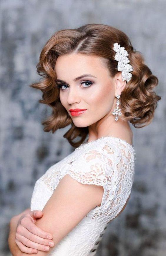 Short Vintage Hairstyle Vintage Wedding Hair Wedding Hair Side Short Wedding Hair