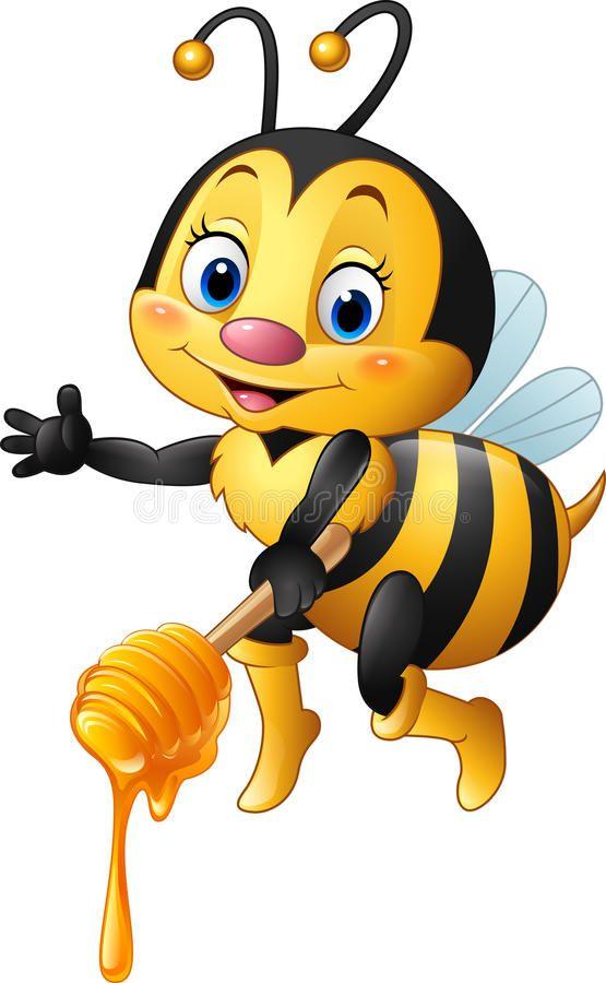 Cartoon Bee Holding Honey Dipper Illustration Of Cartoon Bee Holding Honey Dipp Sponsored Holding Bee Cartoon Il Cartoon Bee Bee Images Bee Drawing