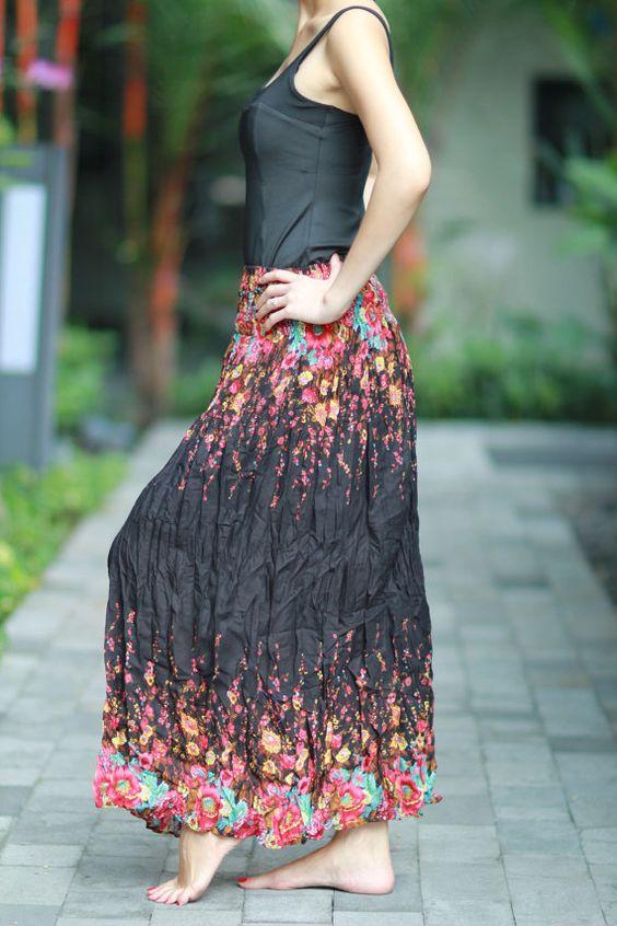 Long Skirt Pleat Skirt Hippie Skirt Bohemian Skirt by ElephantKing