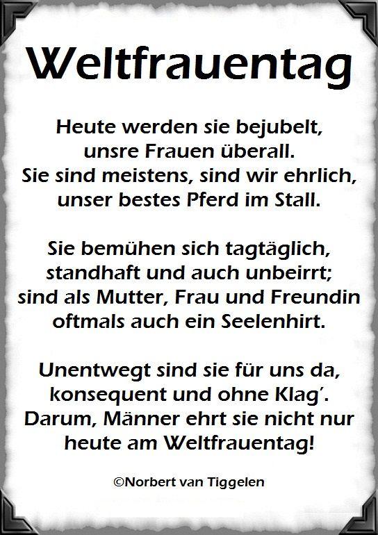 Achtung Am 8 Marz Ist Weltfrauentag Gedichte Mitten Aus Dem Leben Von Norbert Van Tiggelen Weltfrauentag Gedichte Und Spruche Frauentag Spruch