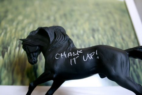 chalkboard paint on old horse toys... what a great re-purposed idea for someone like me with a million of these!