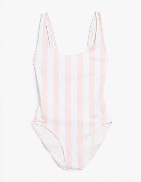 From Solid and Striped, a classic one piece bathing suit in Pink and Cream Stripe. Featuring a scoop neck, double stitched hems high leg, plunge back, moderate coverage and full lining.   • One piece swimsuit in Pink Stripe  • Scoop Neck  • High Leg