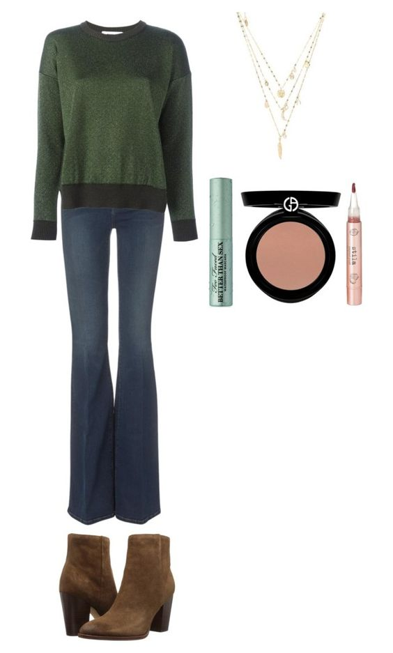 Gabe Band Camp II   Gabe is wearing a Pine Green sweater, dark flare jeans and brown high heeled ankle boots. She has a gold multi-strand necklace over her sweater. Armani blush in a tanned pink color, Better than Sex mascara, and Stilla Coconut Crush are used for makeup