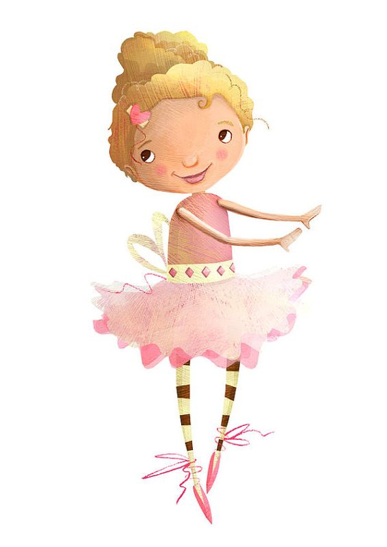 Cute Ballerina Illustration Print for Girl's by JaneySuperette, $19.00