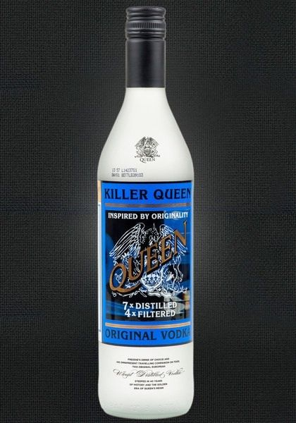 "Queen ""Killer Queen"" Vodka. According to Brian May ""Freddie loved vodka and used to carry a dry ice cooler full of vodka with him on tour."" From Stoli Vodka..."