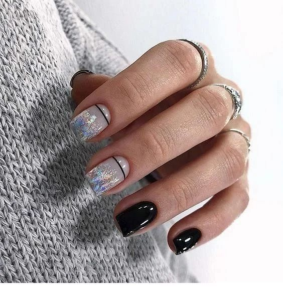 Black And Grey Nails Chicladies Uk In 2020 Winter Nails Acrylic Square Acrylic Nails Trendy Nails