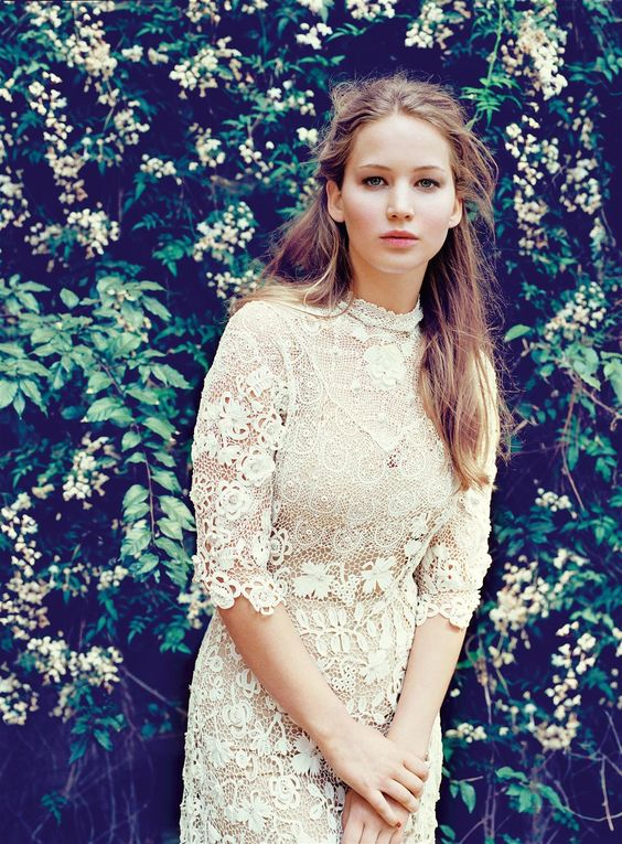 Jennifer Lawrence in an awesome lace dress.