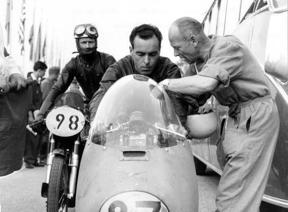 Awaiting the start of the 350cc German GP, Solitude circuit,22.07.1956.