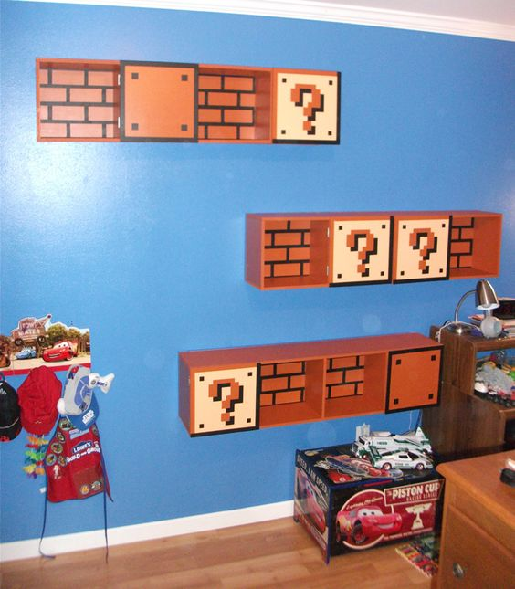 Super Mario Brother's Shelves from 'The Geek Woodworker' http://tgwood.wordpress.com/2011/02/25/super-mario-brothers-shelves/