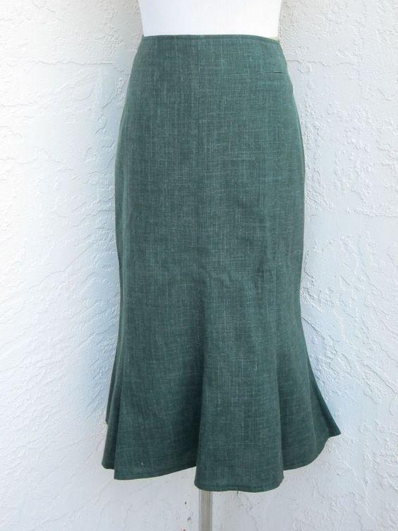 Steinbock Tyrol Austria size 44 US size 14 green virgin wool linen skirt lined #Steinbock #FlaredHem