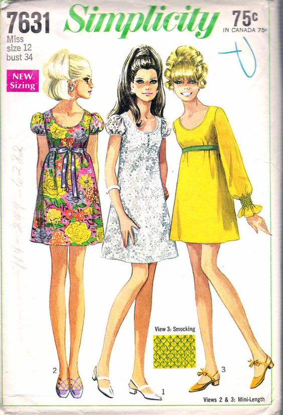 Vintage 1968 Simplicity 7631 Mod One Piece Dress in Two Lengths Sewing Pattern…