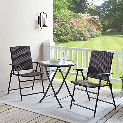 Rimba Outdoors 3 Pieces Wicker Folding Bistro Set Balcon Https Www Amazon Com Dp B07d6zm39n Ref Cm Sw R Backyard Furniture Patio Furnishings Patio Decor