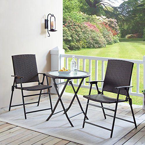 Rimba Outdoors 3 Pieces Wicker Folding Bistro Set Balcony Table And Chairs Sets Garden Backyard F Outdoor Patio Furniture Sets Backyard Furniture Patio Decor