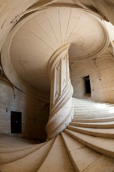 Chateau-de-la-rochefoucauld stairway (reminds me of the inside of a washed up moon snail) Gorgeous!
