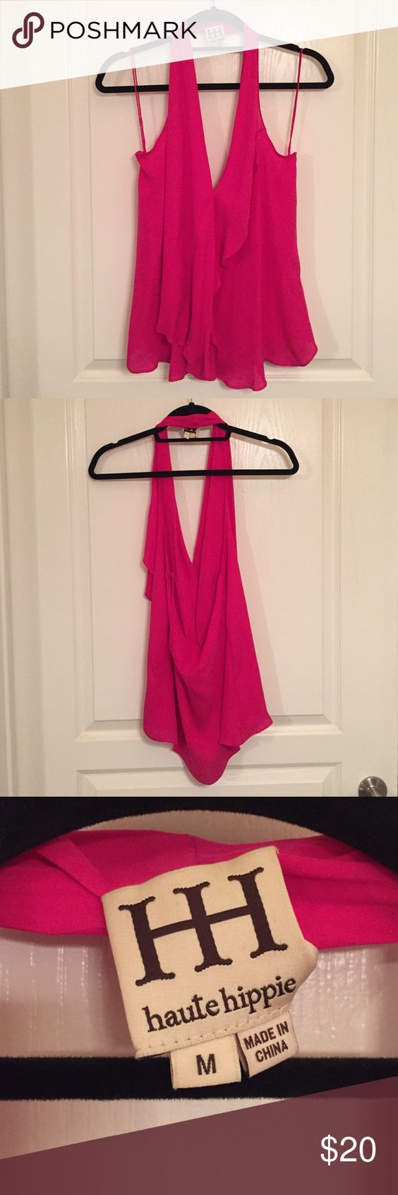 Haute Hippie Hot Pink Flowy Halter Top Only worn once. Two small black dots and light stain. Haute Hippie Tops