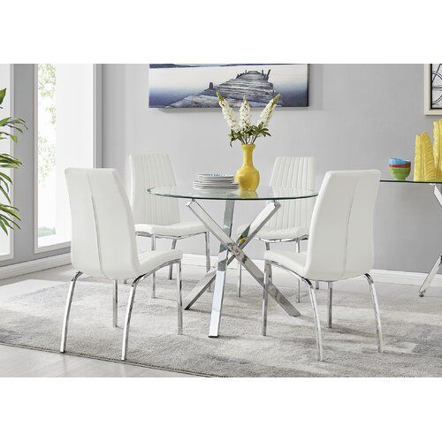Glass Round Dining Table, Round Glass Dining Table Set 4 Chairs