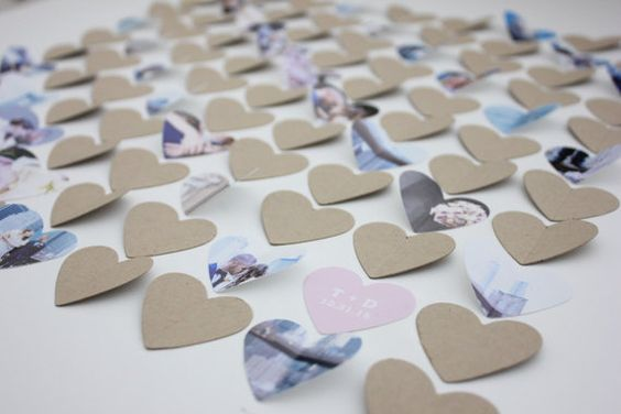 Commemorates your wedding day with a unique wedding guest book alternative. This lovely arrangement of framed 3d hearts will be displayed behind acrylic in a handcrafted frame. Hearts are cut from your digital photos and paired with kraft paper hearts to be signed by your guests. A unique way to display photos from an engagement photo session! Your guests will be delighted by this unique alternative to a traditional guestbook! Imagine their excitement helping to create a work of art that you…