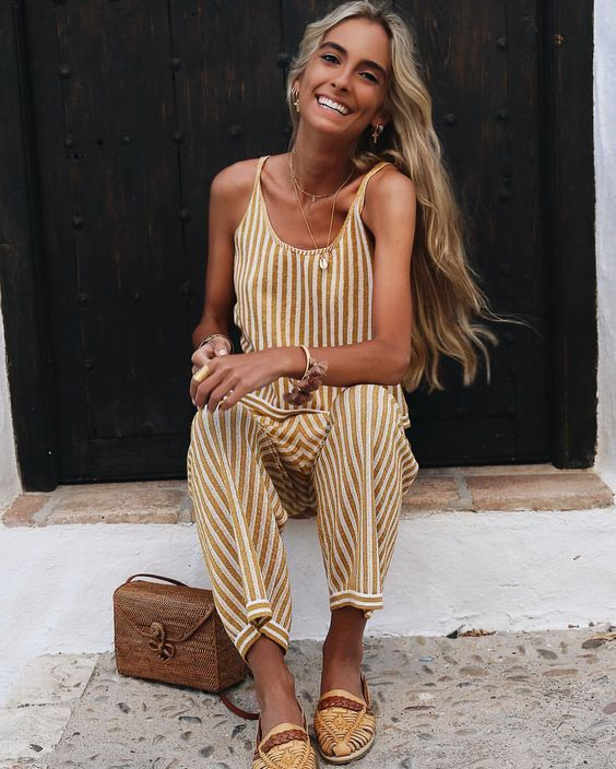 enjoy best price most reliable half off Yellow and white striped jumpsuit, yellow shoes, brown bag ...