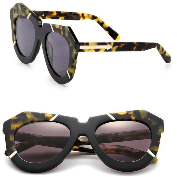 Karen Walker Poolside 51MM Plastic Cat's-Eye Sunglasses (14,395 DOP) ❤ liked on Polyvore featuring accessories, eyewear, sunglasses, apparel & accessories, crazy tort, cat-eye glasses, plastic lens glasses, karen walker sunglasses, cateye sunglasses and karen walker sunnies
