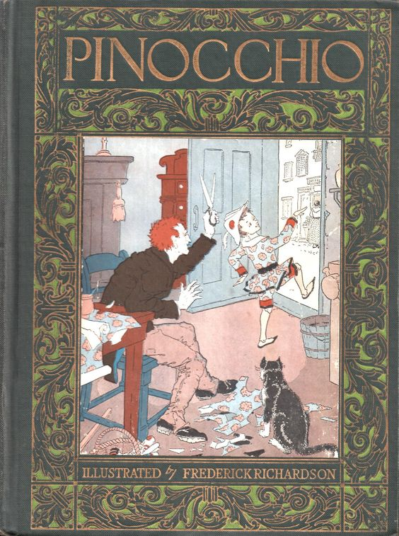 """Pinocchio.C. Collodi. Illustrated by Frederick Richardson. Published in 1927 by The John C. Winston Co. The classic tale of a marionette whose only wish was to be a real boy, and how that wish came true. Richardson (1862–1937) studied at the St. Louis School of Fine Arts and at the Académie Julian in Paris. He taught at the Chicago Art Institute for seven years. He was """"a slightly-built, gray-eyed man"""" whose work """"was strongly influenced by the Art Nouveau movement…"""""""