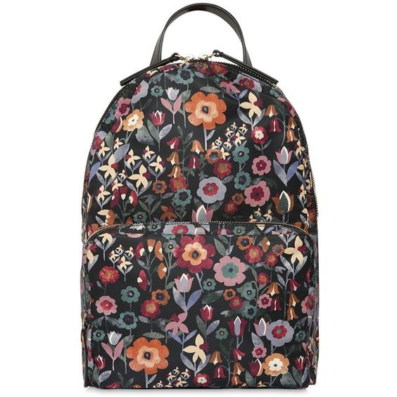 Red Valentino Women Floral Printed Nylon Backpack ($505) ❤ liked on Polyvore featuring bags, backpacks, floral print backpack, day pack backpack, floral backpack, floral bags and floral rucksack
