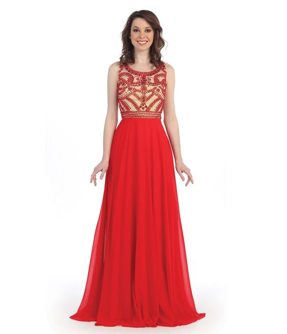 Vintage Red Beading Pattern Long A-line Chiffon Prom Dress: