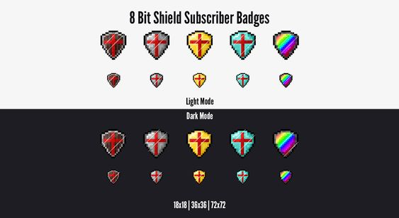 Twitch Subscriber Badges Twitch Sub Badges 8 Bit Pixel Shield Text Emotes Twitch Badge