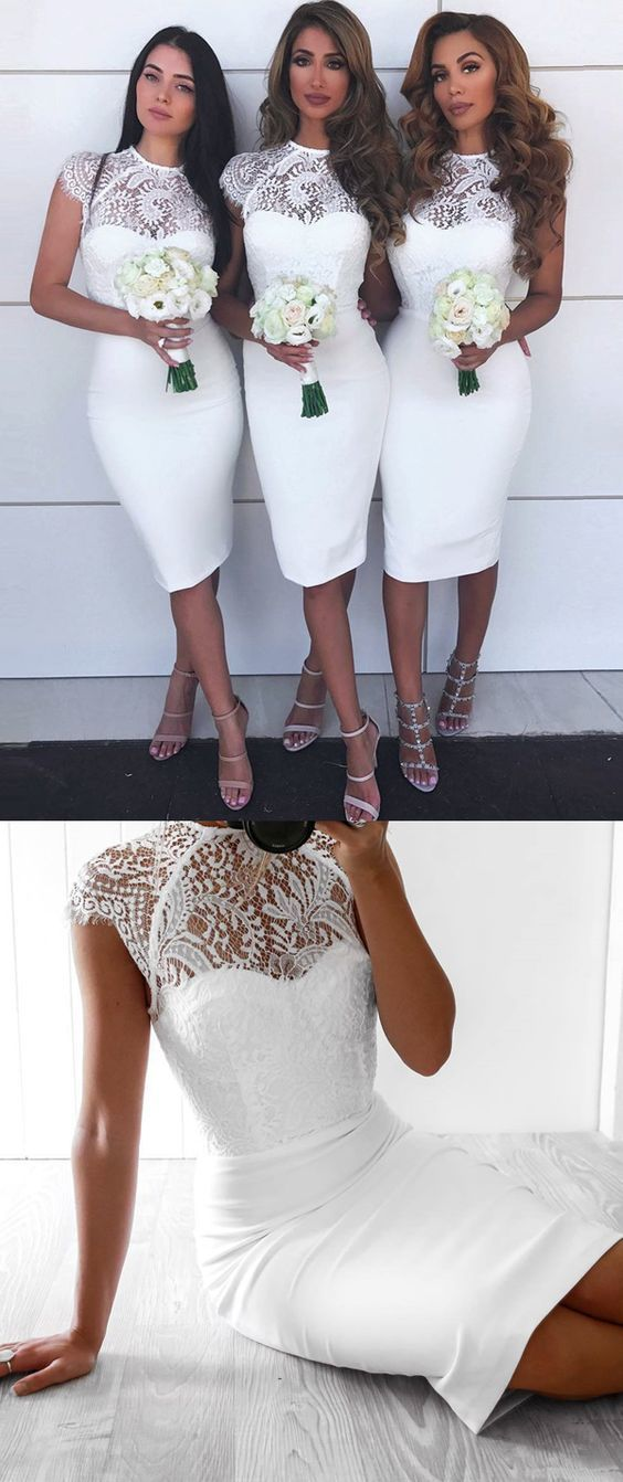 Sheath Round Neck Knee Length White Bridesmaid Dress With Lace Lace White Dress Knee Length Wedding Dress White Bridesmaid Dresses