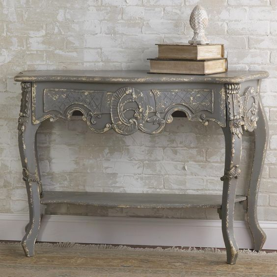 Vintage French Gray Console Table