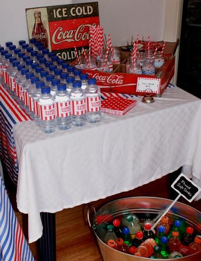 Drinks table with Coca Cola sign