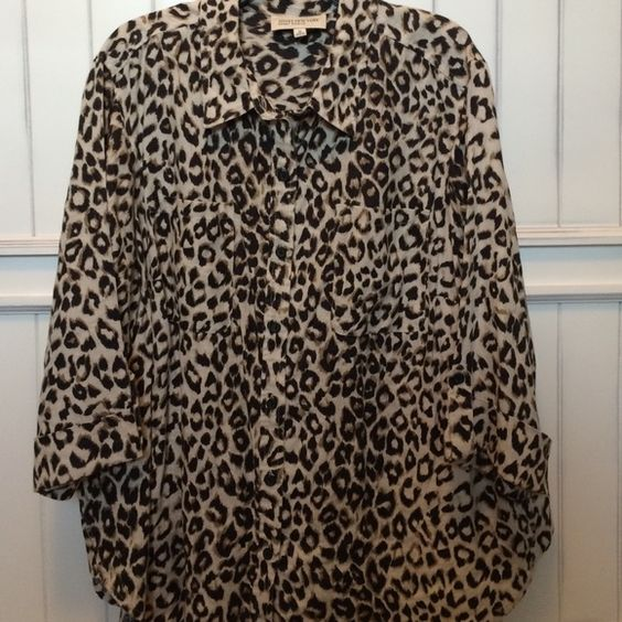 Jones NY animal print top Button down 100% linen top excellent condition worn 1 time Jones New York Tops